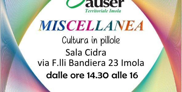 """Riparte, dal 9 ottobre 2017, la rassegna """"pillole di cultura"""" curata da Auser Imola. Un appuntamento che quest'anno si farà c/o la sala del CIDRA in via F.lli Bandiera 23. […]"""